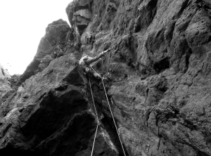 A little rest after the first crux....